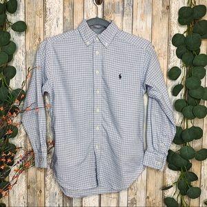 Ralph Lauren Blue Plaid Button Up Long Sleeve Top